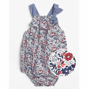 Baby Gap Red White Blue Floral Bubble Romper